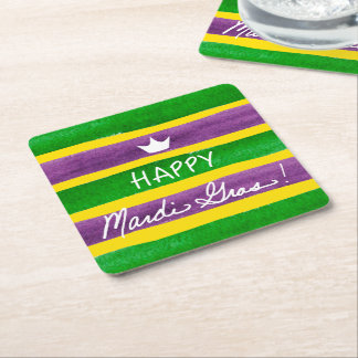 Mardi Gras Hand Painted Purple Green Gold Stripes Square Paper Coaster