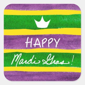 Mardi Gras Hand Painted Purple Green Gold Stripes Square Sticker