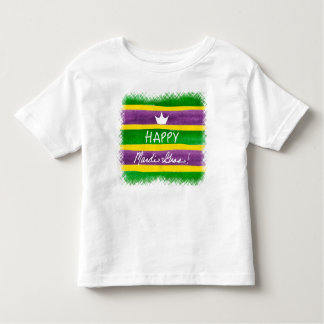 Mardi Gras Hand Painted Purple Green Gold Stripes T Shirt