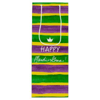 Mardi Gras Hand Painted Purple Green Gold Stripes Wine Gift Bag