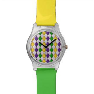 Mardi Gras Harlequin Diamond Pattern 2 Wrist Watches