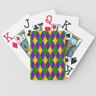 Mardi Gras Harlequin Diamond Pattern Bicycle Poker Cards