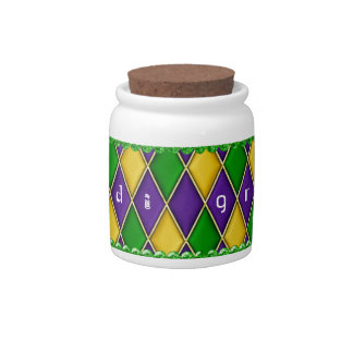 Mardi Gras Harlequin Diamond Pattern Candy Jars