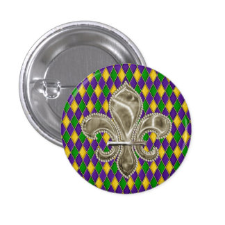Mardi Gras Harlequin Diamond Pattern Fleur de Lis Button