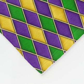 Mardi Gras Harlequin Diamond Pattern Fleece Blanket