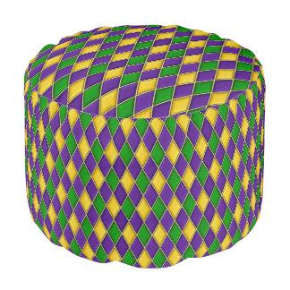 Mardi Gras Harlequin Diamond Pattern Round Pouf