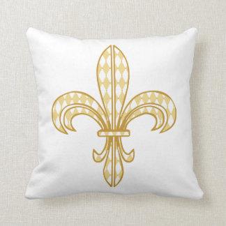 Mardi Gras Harlequin Fleur De Lis Cushion