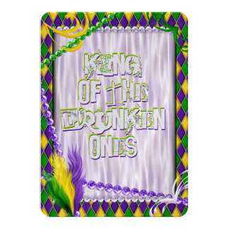 Mardi Gras Harlequin Pattern, Beads, Feathers 11 Cm X 16 Cm Invitation Card