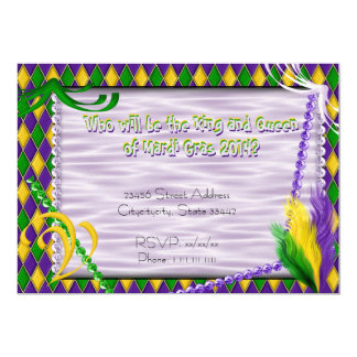 Mardi Gras Harlequin Pattern, Beads, Feathers 2 13 Cm X 18 Cm Invitation Card