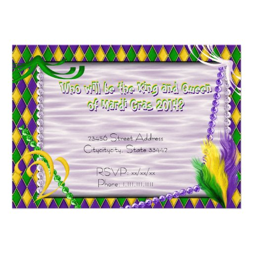 Mardi Gras Harlequin Pattern, Beads, Feathers 2 Personalized Invites