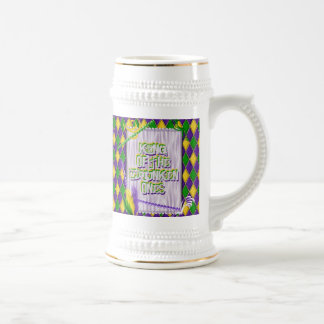 Mardi Gras Harlequin Pattern, Beads, Feathers Beer Steins