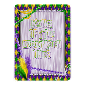 Mardi Gras Harlequin Pattern Beads Feathers Personalized Announcement