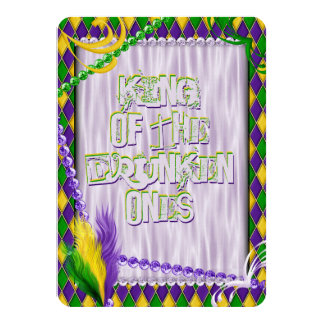 "Mardi Gras Harlequin Pattern, Beads, Feathers 4.5"" X 6.25"" Invitation Card"