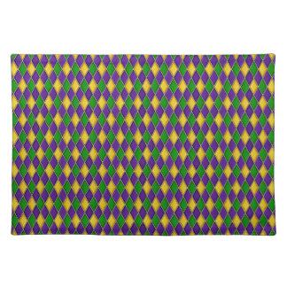Mardi Gras Harlequin Pattern Cloth Placemats