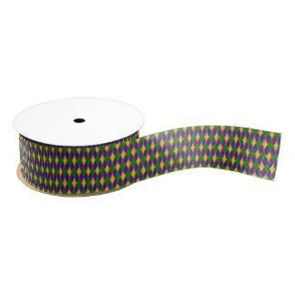Mardi Gras Harlequin Pattern Grosgrain Ribbon