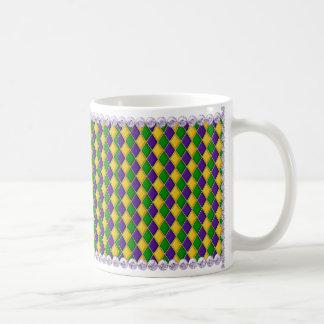 Mardi Gras Harlequin Pattern Mug w/Lilac Beads
