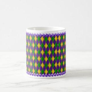 Mardi Gras Harlequin Pattern Mug w/Purple Beads