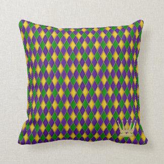 Mardi Gras Harlequin Pattern w/crown Pillows Throw Cushions