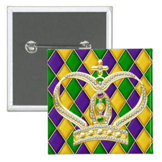 Mardi Gras Harlequin Square Button with Crown