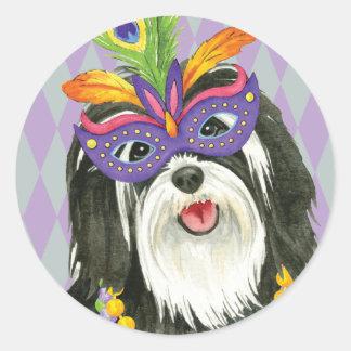 Mardi Gras Havanese Classic Round Sticker