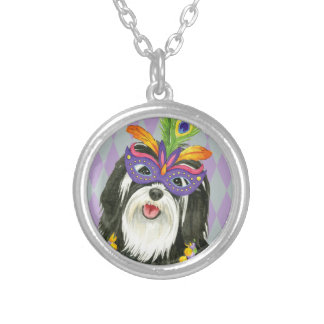 Mardi Gras Havanese Silver Plated Necklace