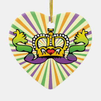 Mardi Gras heart crown Christmas Ornament