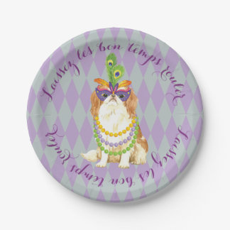 Mardi Gras Japanese Chin 7 Inch Paper Plate