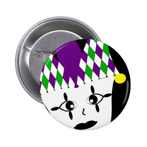 Mardi Gras Jester Party Button