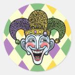 Mardi Gras Jester Round Sticker
