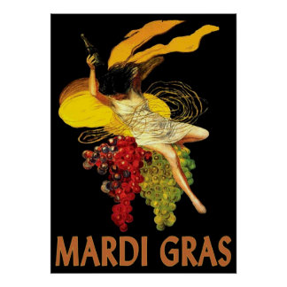 Mardi Gras Maid with Grapes Poster