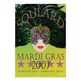 Mardi Gras Mask 2007 Poster St. Louis