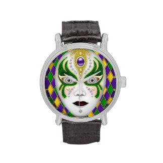Mardi Gras Mask on Harlequin Background Watch