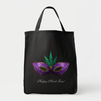 Mardi Gras Mask Purple Green Gold Sparkles Grocery Tote Bag