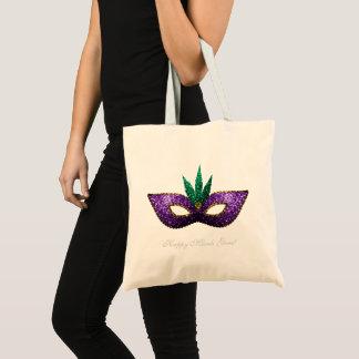 Mardi Gras Mask Purple Green Gold Sparkles Tote Bag