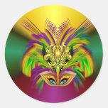 Mardi-Gras-Mask-The-Queen Round Sticker