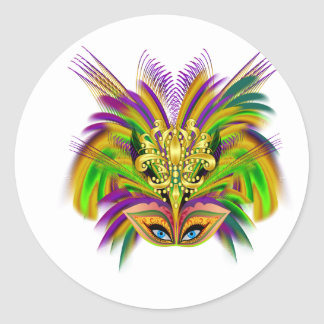 Mardi-Gras-Mask-The-Queen-V-2 Round Sticker