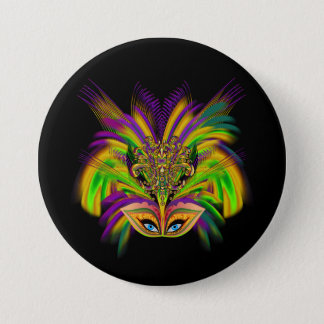 Mardi-Gras-Mask-The-Queen-V-3 7.5 Cm Round Badge