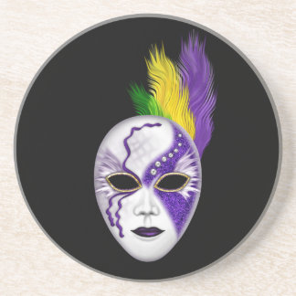Mardi Gras Mask w/ Colored Feather Plumes Coaster