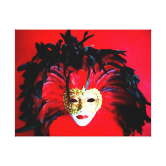 MARDI GRAS MASQUE BLACK AND RED RELIEF CANVAS PRINT