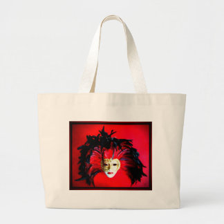 MARDI GRAS MASQUE BLACK AND RED RELIEF LARGE TOTE BAG