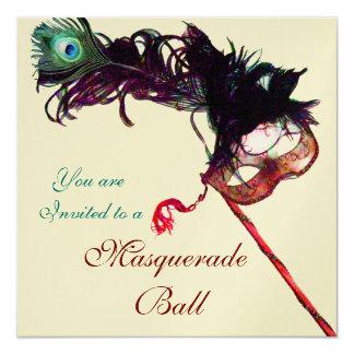 """MARDI GRAS MASQUERADE BALL Champagne Metallic 5.25"""" Square Invitation Card"""