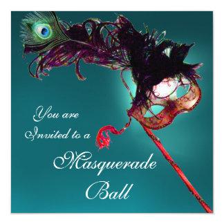 MARDI GRAS MASQUERADE BALL MASK blue pink fuchsia 13 Cm X 13 Cm Square Invitation Card