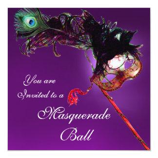 MARDI GRAS MASQUERADE BALL purple pink fuchsia 13 Cm X 13 Cm Square Invitation Card