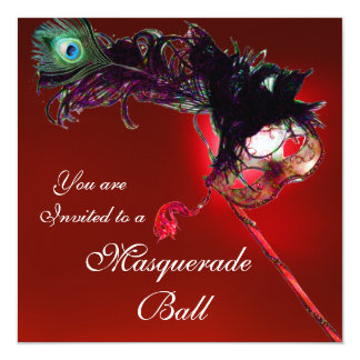 MARDI GRAS MASQUERADE BALL red black white blue 13 Cm X 13 Cm Square Invitation Card