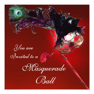 """MARDI GRAS MASQUERADE BALL red white blue black 5.25"""" Square Invitation Card"""