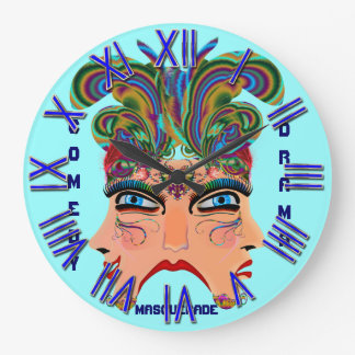 Mardi Gras Masquerade Comedy Drama View Hints Plse Round Wallclocks