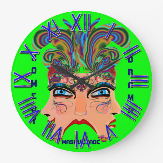 Mardi Gras Masquerade Comedy Drama View Hints Plse Round Wall Clock