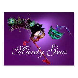 MARDI GRAS MASQUERADE gem purple Postcard