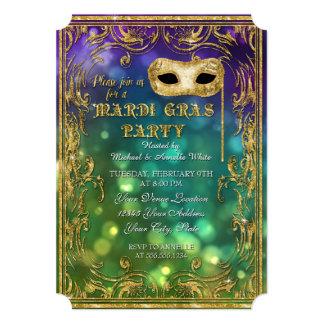 Mardi Gras Masquerade Mask Bokeh Gold Glitter 13 Cm X 18 Cm Invitation Card