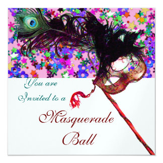 MARDI GRAS MASQUERADE MASK & CONFETTI white 13 Cm X 13 Cm Square Invitation Card